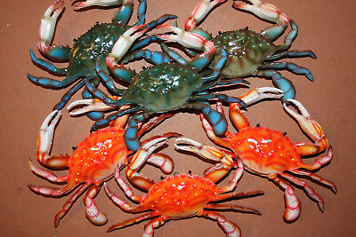 Crabshack Decor, Realistic Blue Crab Steamed Crab Decor, 6 inch, Lot of 14