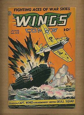 Wings Comics 58 (VG) 1945 Fiction House Greasemonkey Griffin WWII cover (c#08716