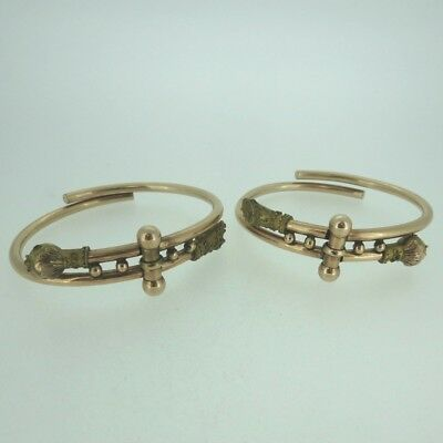 Pair of Antique Late 1800s Two-Tone Gold Filled Victorian Hinge Bangle Bracelets