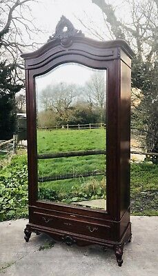 Antique French Rococo Louis Xv Mahogany Mirrored Armoire
