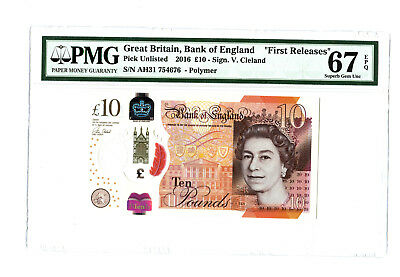 2016 2017 10Pd Great Britain Bank Of England Jane Austen Pmg 67 Epq Banknote Fr