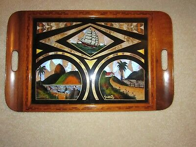 antique butterfly wing tray  sailing ship, palm trees, mountains