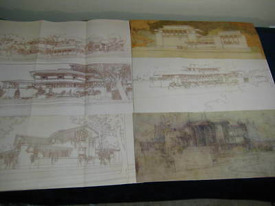 16 Frank Lloyd Wright Fallingwater Guggenheim Architectural Drawings Posters