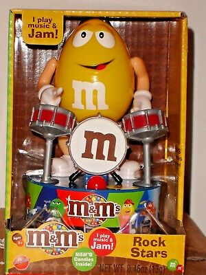 M & M Candy Musical Rock Star Yellow on Drums! Rocking Holiday Gift! New!
