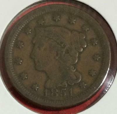 1851 US LARGE CENT! FINE! Old US Coins!