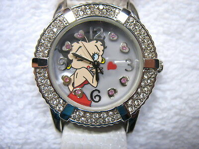 New Womans  Betty Boop Crystal Bezel Bracelet White Leather Band Watch