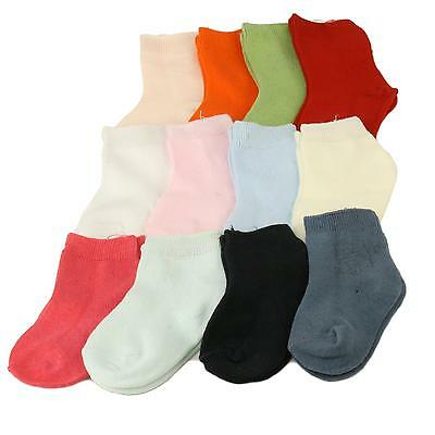 100% Cotton Girls 12 Color Pairs Casual Sport Long Crew Socks