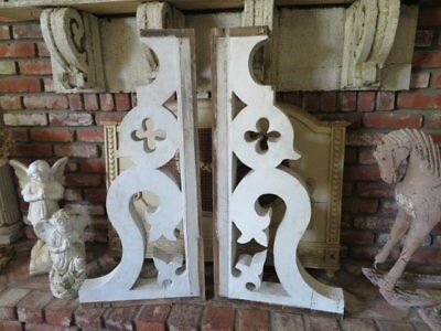 THE BEST PAIR Old Architectural CORBELS Original Chippy WHITE Paint Ornate 3'