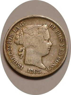 1868 Silver 20 Centimos of Philippines FULL DETAIL