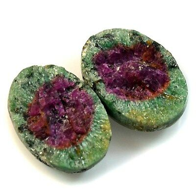 Natural Ruby in Zoisite DRUZY Pair Collection