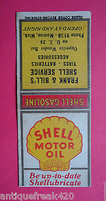 Vintage Shell Motor Oil-Frank & Bill's Shell Service, Mich.-Matchbook Cover Only