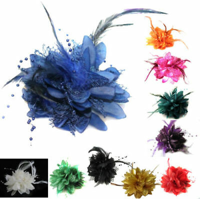 Women Flower Feather Bead Corsage Hair Clips Fascinator Hairband and Brooch Pin