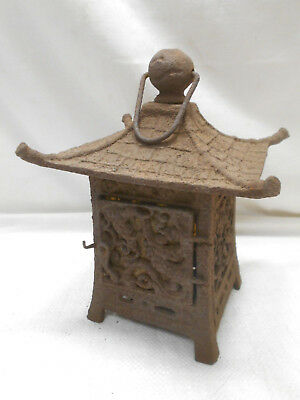 Vintage Japanese Cast Iron Metal Decorative Temple Lantern Light #13