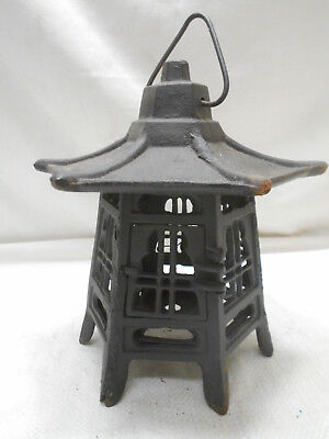 Vintage Japanese Cast Iron Metal Decorative Temple Lantern Light Candle #18