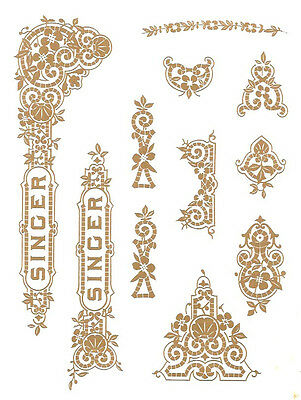 Singer Model 15 Gingerbread  Style Sewing Machine Restoration Decals