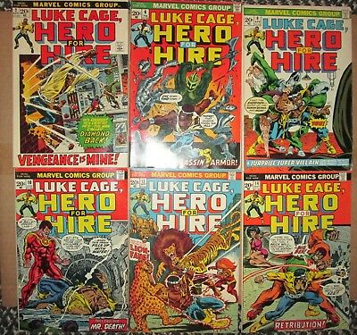 Luke Cage Hero For Hire 2,6,8,10,13,14 NICE 1st SERIES POWER MAN 1972 Marvel Lot