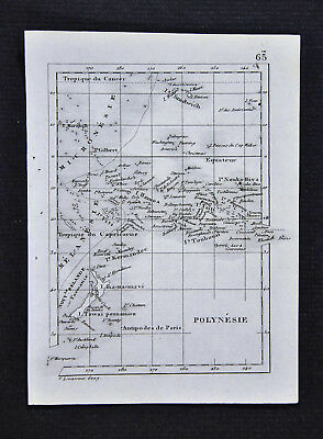 c1835 Levasseur Map - Polynesia New Zealand Cook Tahiti Hawaii Islands - Oceania