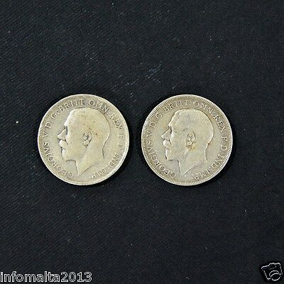 1912 - 1914 UK-British Florin George V Silver Coin 2 shillings Lot of 2
