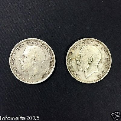 1914 - 1915 Lot of 2 Half Crown King George V Silver Coin 2 shillings sixpence