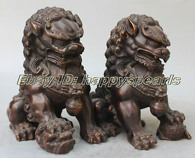 Antique Bronze Fengshui Foo Fu Dog Lion Ball Pair Old Temple God Statue