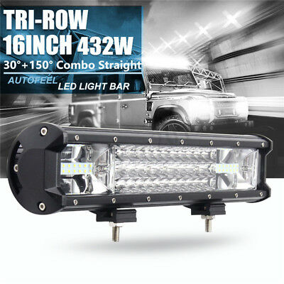 16 Inch 432W Tri-row Work Light Bar Spot Flood Beam Offroad SUV ATV Driving Lamp