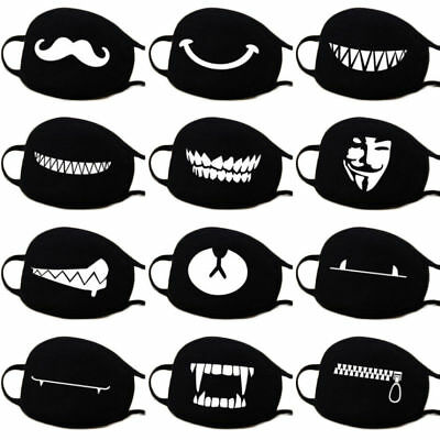 Unisex Anti-Dust Cotton Funny Face Mask Pattern Mask Cute Half Face Mouth Cool