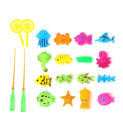 20PCS Magnetic Fishing Toy Rod Model Net Fish Kid Baby Bath Time Fun Game DN