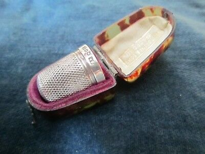 Antique solid silver thimble - in bakelite box - hallmarked for 1898