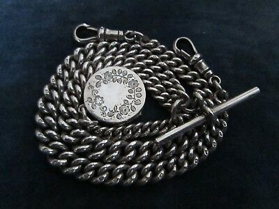 Antique solid silver double Albert watch chain - with fob locket - 1918