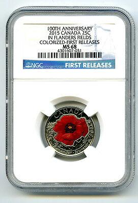 2015 Canada 25 Cent Ngc Ms68 Poppy Flanders Fields Remembrance Quarter Colorized