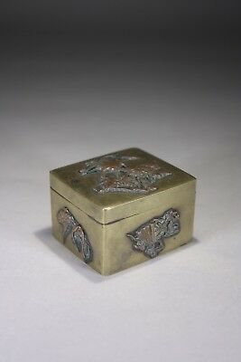 Antique Japanese Mixed Metals Pill Box Meiji Period