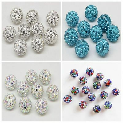 20 Pcs Round Disco Ball Czech Crystal Rhinestones Pave Clay Spacer Beads