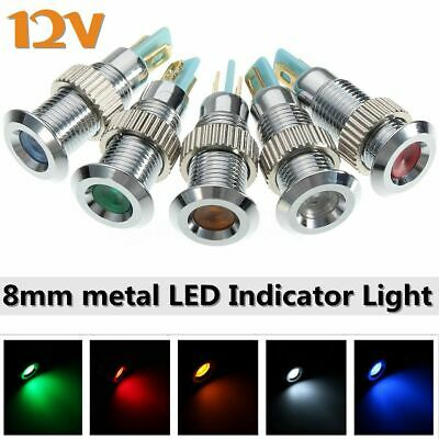 Universel 12V 8mm LED Indicateur Lampe Warning Témoin Voyant Pilote Metal Auto