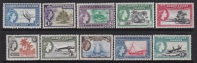 Gilbert And Ellice Islands 1956 Qeii Definitives Part Set Lightly Hinged Mint