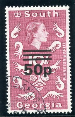 Falkland Is Deps 1971 QEII 50p on 10s magenta very fine used. SG 31b. Sc 30a.