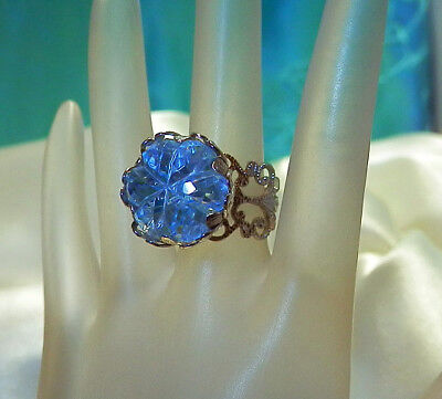 Sarah Cov Signed X Large Lucite Showy Adjustable Ring Size Vintage 1970's 109Ap8