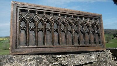SUPERB 17thc GOTHIC RELIEF OAK CARVED CHURCH PANEL ARCHED WINDOWS C.1690 (1)