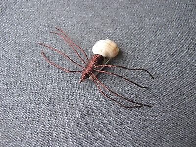 Vintage artisan hand crafted real shell & copper wire oversized spider pin #8