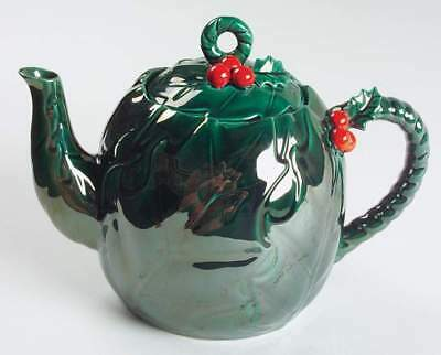 Lefton GREEN HOLLY Tea Pot & Lid 882220