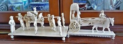 Antique Hand Carved Mughal Empire Diorama 15 Figures On 2 Bases