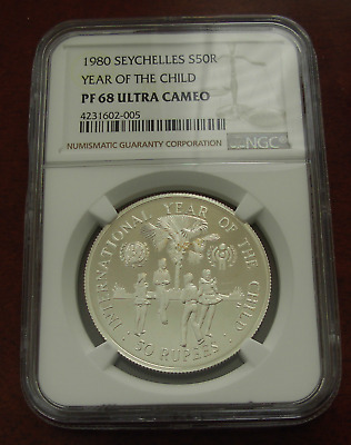 Seychelles 1980 Silver 50 Rupees NGC PF-68UC Year of The Child