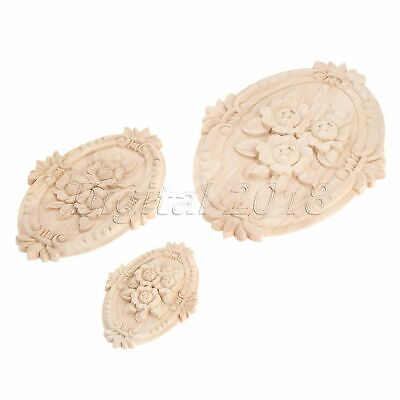 3 Sizes Woodcarving Decal Onlay Oval Embossed Wooden Applique Furniture Decor