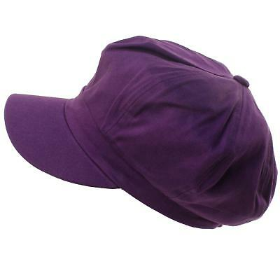 Summer 100% Cotton Plain Blank 6Panel Newsboy Gatsby Apple Cabbie Cap Hat Purple