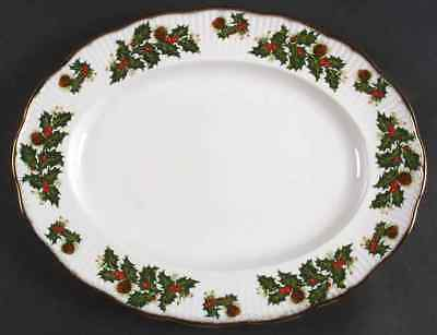 "Rosina Queens YULETIDE (SCALLOPED) Eros 13 1/2"" Oval Serving Platter 5556166"