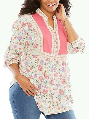 Woman Within NEW  MULTI  Print Long Sleeve BUTTON FRONT Blouse SIZES UK 18 to 36