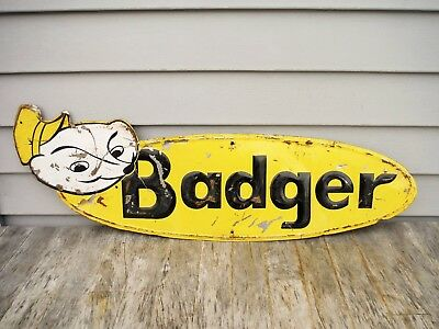 "Vintage Badger Farm Equipment Sign Feed Seed Farm Neat! 30"" Embossed Nice!"