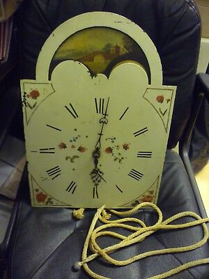 Unusual Antique 30hr Grandfather Clock Moon Phase Movement And Dial
