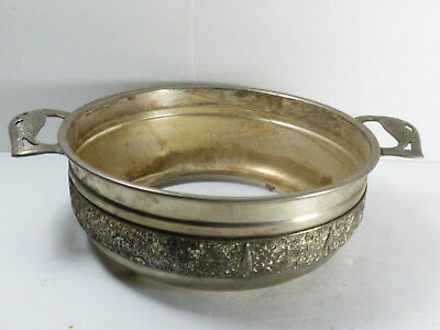 Antique J&F Repousse Silver Plate Dutch Scenes Serving Bowl Holder Footed