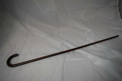 Vintage Wooden Walking Stick with Silver Tip Cap Hallmarked JH Anchor, Lion, y
