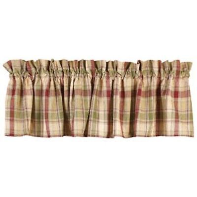 New Primitive Country Wine Red Green Tan Plaid Check Homespun Curtain Valance